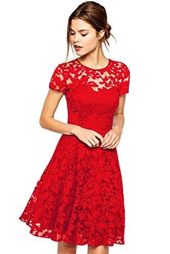Amoluv Women Round Neck Short Sleeve Pleated Lace Slim Dress Red, X-Large