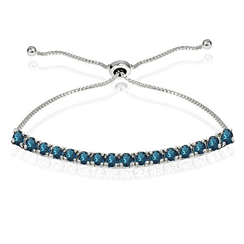 Sterling Silver 3mm London Blue Topaz Round-cut Chain Adjustable Pull-String Bolo Slider Tennis Bracelet for Women Teens - Blue Topaz Bracelet Pendant