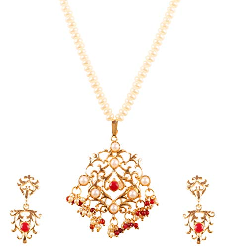 Touchstone New Contemporary Kundan Collection Style Statement Indian Bollywood Kundan Look Button Shape Faux Pearls Ruby Beads Pearls Designer Jewelry Pendant Set in Antique Gold Tone for -