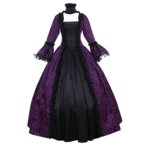 1791's lady Women's Victorian Rococo Dress Inspiration Maiden Costume Purple&Black ()