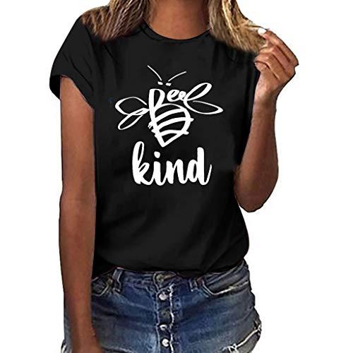 YKARITIANNA Women Girls Plus Size Print Shirt Short Sleeve T Shirt Blouse Tops 2019 Summer Black