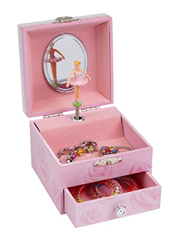 JewelKeeper Musical Jewelry Box, Pink Rose Design with Pullout Drawer, Swan Lake -
