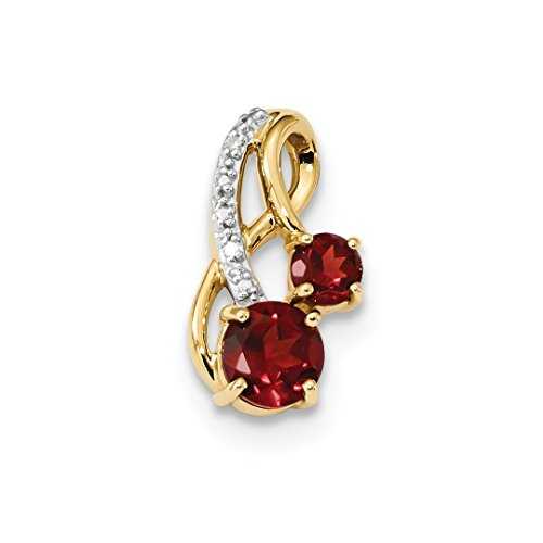ICE CARATS 14k Yellow Gold Mozambique Red Garnet Diamond Pendant Charm Necklace Gemstone Fine Jewelry Gift Set For Women (Mozambique Garnet Pendant)