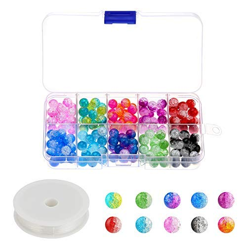 Accmor 200 Pieces 8 mm Crackle Glass Beads, Colorful Crackle Beads Mixed Split Glass Round Beads Assortment with Elastic Crystal String for Jewelry Making and Craft