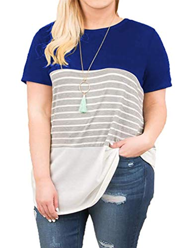 - Women's Plus Size Loose Tunic Shirts Short Sleeve Stripes Tee Tops Royal Blue 26W