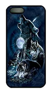 iPhone 5 5S Case -Bark At The Moon Wolf Black Custom iPhone 5 5S Case Cover