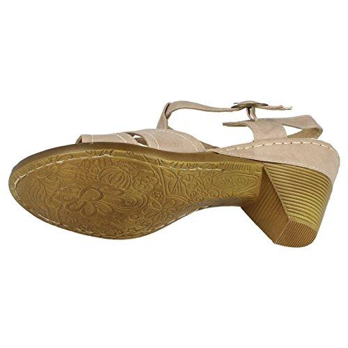 Spot On Damen Mid Heel Sandaletten Hautfarben
