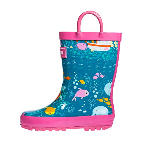 hibigo Toddler Rain Boots for Kids, Waterproof Rubber Rain Boots with Easy-On Handles for Boys and Girls,Undersea