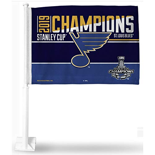 (Rico Industries NHL St. Louis Blues 2019 Stanley Cup Champions Car Flag, with White Pole, 19, Blue)