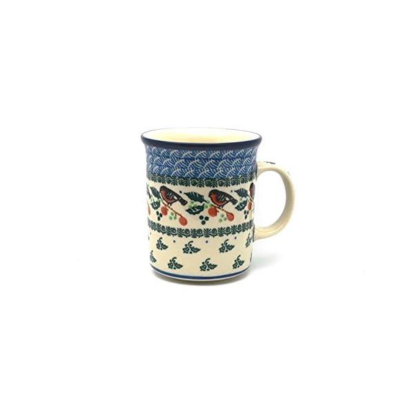 Polish Pottery Mug – Big Straight Sided – Red Robin