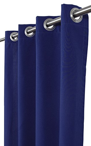 India House Outdoor/Indoor Curtain Panel Cobalt Blue T-Spun Fabric with 8 Stainless Steel Grommet, 50