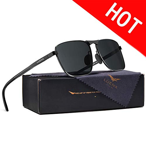 LUENX Rectangular Aviator Polarized Sunglasses Square Retro 100% UV Protection Black Frame...