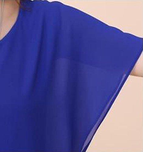 Blu Sciolto Estivi Girocollo Maglietta Manicotto Corta Donna Chiffon Shirt Manica Camicetta Bluse Newlife Casual Pipistrello Camicie T Tops a UWqPIHUd