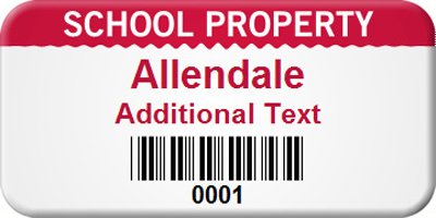 Custom School, Embedded PermaGuard™ Label with Gloss Surface, 100 Labels / Pack, 1.5'' x 0.75''