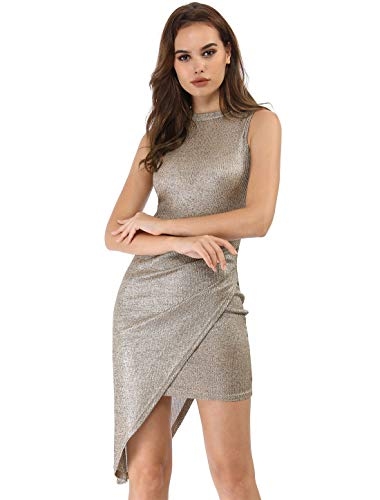 416622e4d320c3 Allegra K Women s Metallic Shiny Asymmetrical Drape Bodycon Party Dress L  Gold