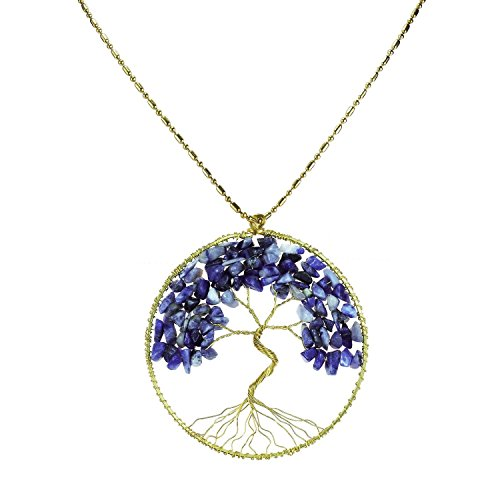 [DEW Drops Reconstructed Blue Lapis Pendant Tree of Life Brass Long Necklace Gemstone Jewelry] (Polynesian Girl Costume)