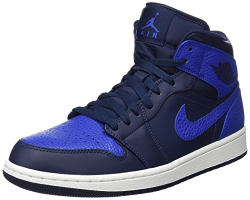 Jordan Nike Men's Air 1 Mid Obsidian/Game Royal Basketball Shoe 11 Men US (1 Air)