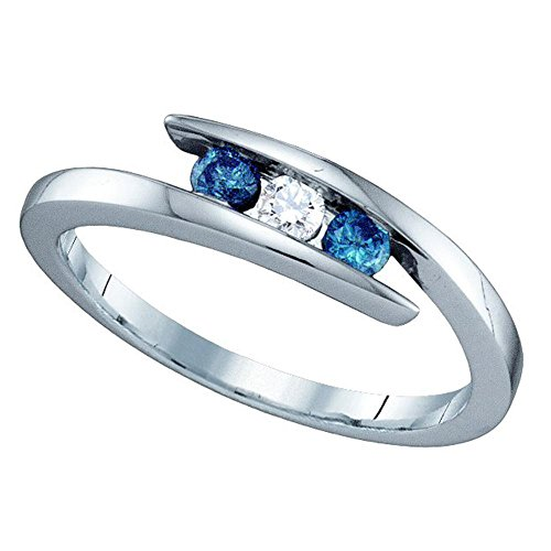 Size 4.5 - 10K White Gold White and Blue Diamond Cross Over Engagement OR Fashion Right Hand Ring Band - 3 Three Stone Center Setting Shape w/ Invisible Channel Set Round Diamonds - (1/4 cttw)