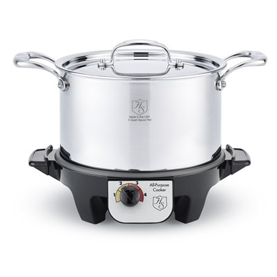 American Clad 7-ply Stainless 4-Qt Stock Pan w/Lid & Slow Cooker Base