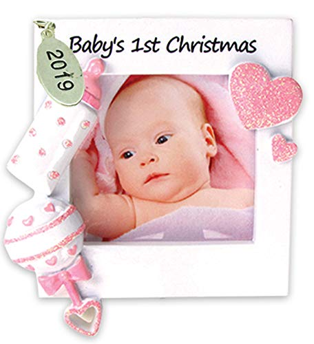 Twisted Anchor Trading Co Baby Girl Frame Ornament for Babys First Christmas Ornament 2019 Pink - with Gift Box Christmas Ornaments Babys First Christmas