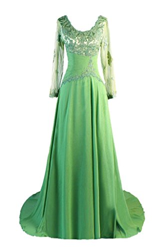 Dresstore Women's Long Sleeve Evening Formal Dresses Lace Mother of the Bride Dress Green US 14
