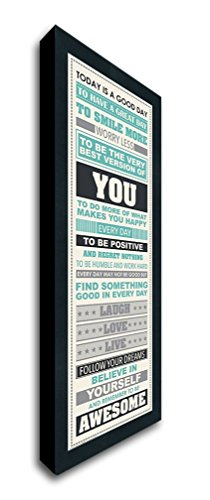 Framed Be Awesome Inspirational Motivational Happiness Quotes Decorative Poster Print, 12x36 - Black Wood Frame