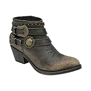 Corral Women's Distressed Buckle Strap Ankle Boot Black 9.5 M US
