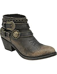 Corral Women's Distressed Buckle Strap Ankle Boot