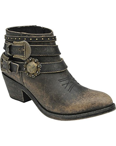 Corral Women's Distressed Buckle Strap Ankle Boot Black 10 M US