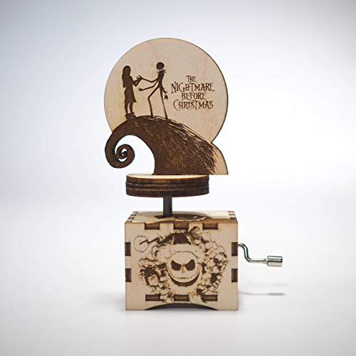 The Nightmare Before Christmas Music Box - Personalized engraved gift. Hand cranked mechanism. -