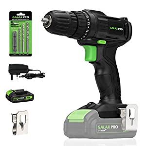 GALAX PRO 20V Cordless Drill,Single Speed (0-600RPM), 19+1 Position,Max Torque(20N.m), 10mm Keyless Chuck,with Work…