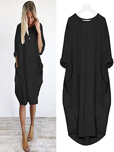 Loose Tops Casual Ladies Long Pocket Size Dress Girocollo Womens Nero Plus b6gYvI7yf