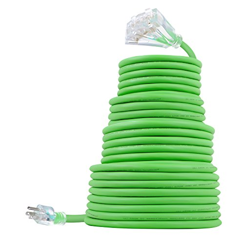50 FT 10/3 Outdoor Extension Cord - Rubber, Flexible, Triple Outlet, Green Wire with Live Power Light Indicator. 15 Amp
