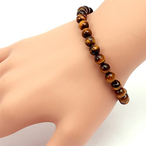 GEM-inside Smooth 6mm Natural Yellow Tiger Eye Beads Stretchy Rope Hand Knitted Men Women Bracelets 7 1/2 Inches Beads