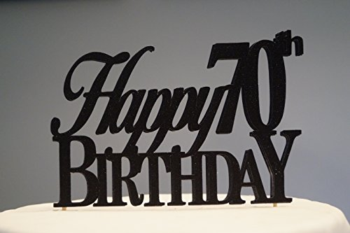 All About Details Black Happy 70th Birthday Cake Topper