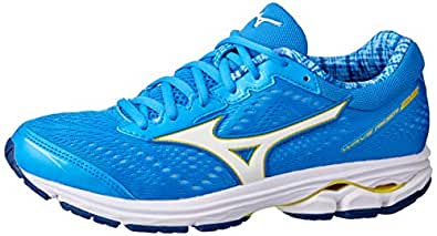 Mizuno Australia Women's Wave Rider 22 Running Shoes, Brilliant Blue/White/Primrose Yellow, 6.5 US