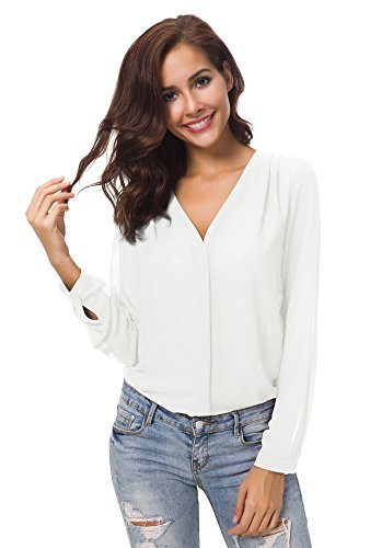 Urban CoCo Womens V Neck Ruffled Shoulder Solid Chiffon Blouse (X-Large, White)