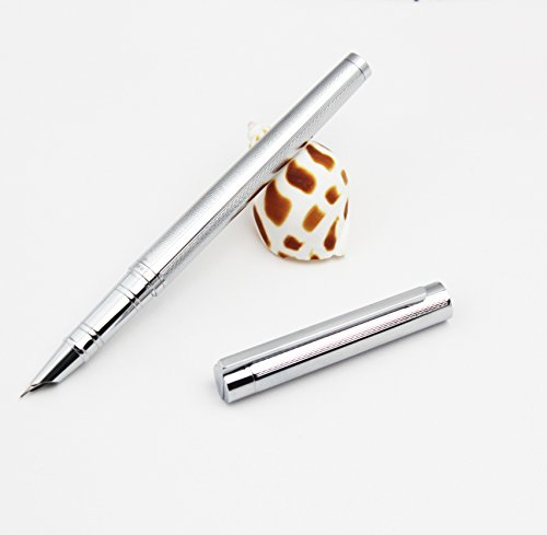 (Tatzee Fountain Pen and Gift Box with Ink Refill Converter - Premium Quality with Elegant Design for Signature Calligraphy Executive Business - 100% Satisfaction Guarantee (Silver))