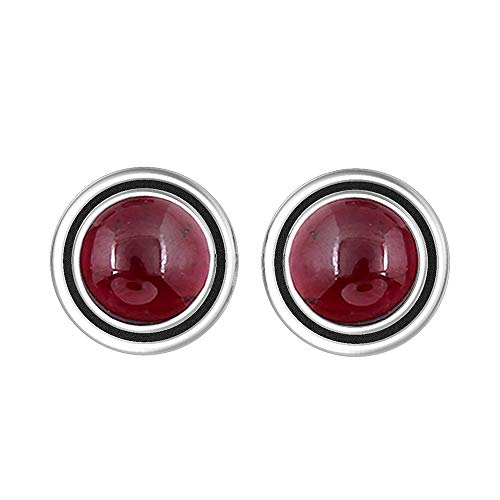 (Genuine 7mm Round Shape Garnet Stud Earrings 925 Silver Plated Handmade Stud Earrings Jewelry For Women Girls)