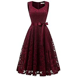 Gardenwed Women's Vintage Floral Lace Cocktail Formal Swing Dress Short V-Neck Bridesmaid Party Dress