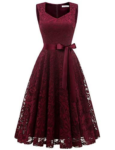 (Gardenwed Vintage Floral Lace Cocktail Party Bridesmaid Dress Sleeveless V Neck Formal Dresses for WomenBurgundy)