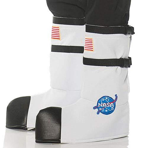 Astronaut Child Boot Covers - Underwraps Unisex Adult Astronaut Boot Top Covers Costume-White, One Size