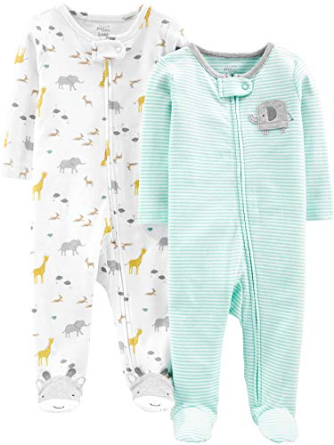 Simple Joys by Carter's Baby Neutral 2-Pack Cotton Footed Sleep and Play, Stripes/Animals Green, 3-6 Months