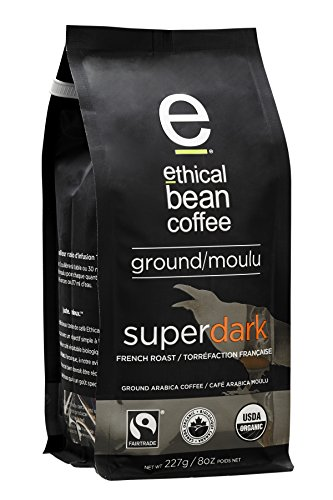 Ethical Bean Coffee Superdark: French Roast Ground Coffee - USDA Certified Organic Coffee, Fair Trade Certified - 8 ounce bag