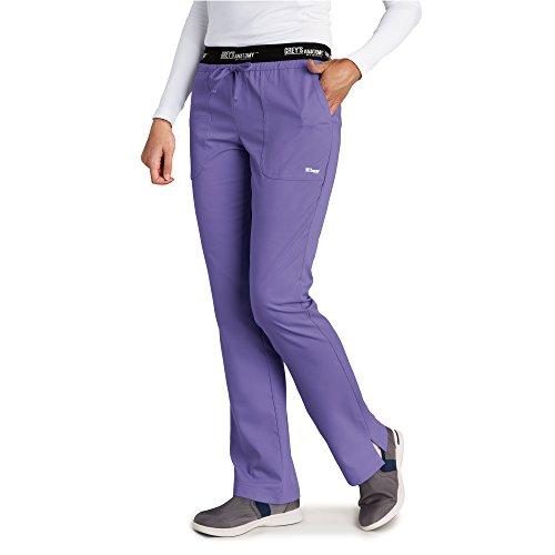 Grey's Anatomy Women's 4275 3 Pocket Logo Waist Pant With Drawstring- Passion Purple- Medium Petite