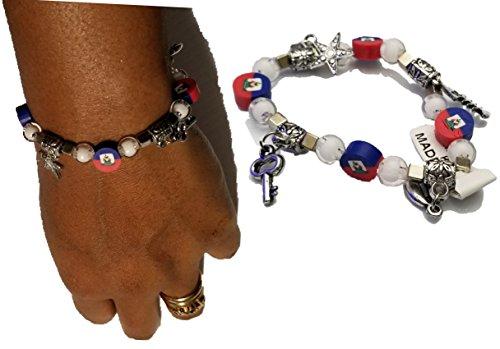 BUNFIREs Women Haiti Haitian Flag Beads Lucky Charm Bangle Hand Chain Pendant Diamond Ball Star Heart Bracelets (9mm Chain Ball)