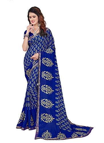 (CRAFTSTRIBE Ethnic Wedding Bollywood Saree Party Wear Indian Blue Georgette Women)