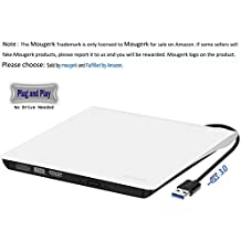 External USB 3.0 DVD Drive, Mougerk USB 3.0 Ultra Slim Portable CD DVD RW Reader Writer Burner Drive for Windows 10 Laptop Desktops Apple Mac Macbook Pro White