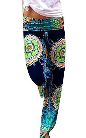 Yayu Women Folk Style Smocked Waist Printed Casual Long Trousers Green XS - Smocked Waist Silk Blouse