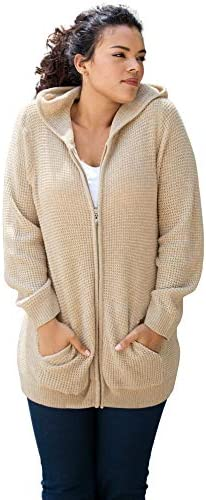 Roaman's Women's Plus Size Thermal Hoodie Cardigan Zip Up Sweater